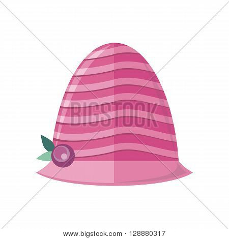 Summer hat isolated on white background. Fashionable red Panama hat with red ribbon for protection from sun and rain weather conditions. Garment for wearing on the head. Vector illustration