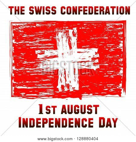 Switzerland flag. Day of confederation red swiss flag.