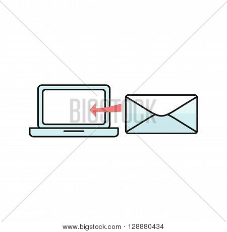 Contact concept message and laptop. Conceptual banner envelope contacts and message. Incoming and outbox alerts. Digital communication dialogue and correspondence. Vector illustration