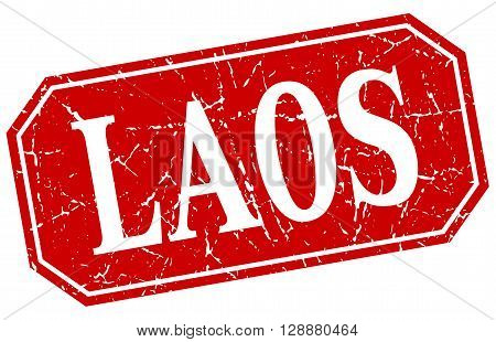 Laos red square grunge retro style sign