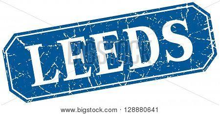 Leeds blue square grunge retro style sign