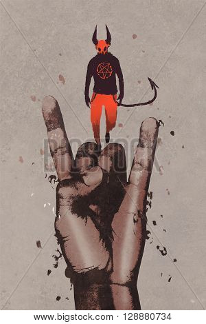 big hand in devil horns sign with devil, illustration painting