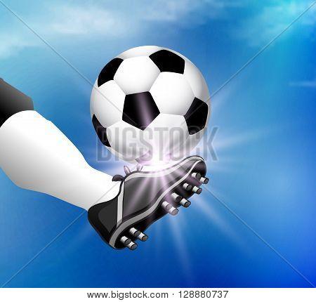 Leg soccer player kicks the ball, vector art illustration.