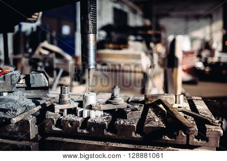 Cnc Drilling Machinery Lathe Working With Steel And Iron Pieces At Industrial Factory