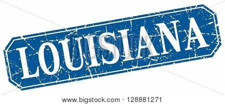 Louisiana blue square grunge retro style sign