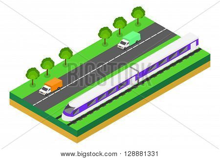 Fast Train near highway. Vector isometric illustration of a Fast Train near highway with cars. Vehicles designed to carry large numbers of passengers. Isolated vector of modern high speed train.