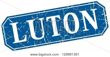 Luton blue square grunge retro style sign