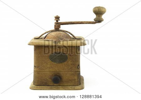 overwhite portrait of a vintage coffee grinder