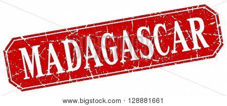 Madagascar red square grunge retro style sign
