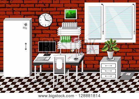 Vector Interior Office Room In Modern Style. Vector Illustration
