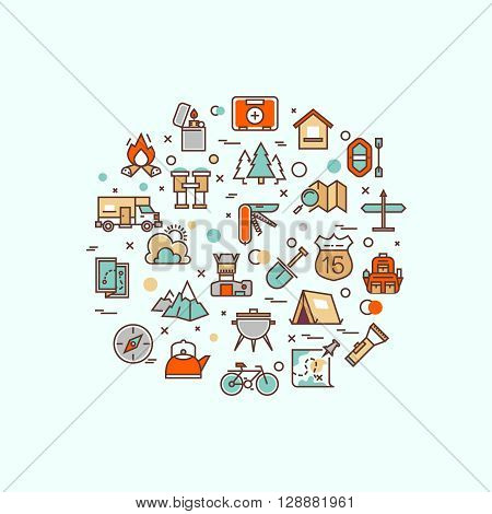 Summer camping, climbing, trekking, hiking, mountaineering, extreme sports, outdoor vector concept with line icons. Climbing outdoor, expedition outdoor trekking, adventure outdoor hiking, outdoor sport extreme illustration