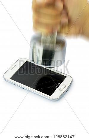 Broken Smart Phone Smashed By Dumbbell.
