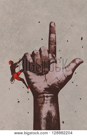 big hand in finger pointing up sign with climber, illustration painting