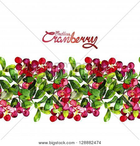 Watercolor cranberry. Endless border. Christmas floral design