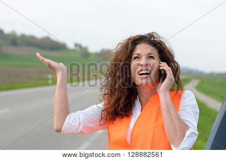 Exasperated Young Female Driver On Her Mobile