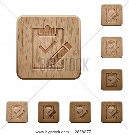 Set of carved wooden Fill out checklist buttons in 8 variations.