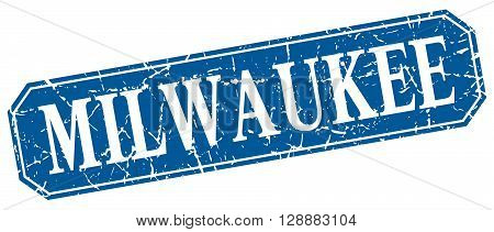 Milwaukee blue square grunge retro style sign