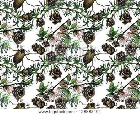 Forest design with larch branches, cones, leaves, insects. Seamless watercolor pattern