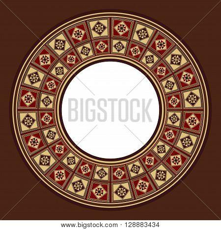Oriental Wooden Marquetry Circular Checker Tiles Frame