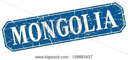 Mongolia blue square grunge retro style sign