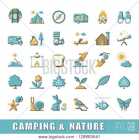 Set of camping and nature icons. Spending time in nature. Picnic, hiking in the wild. Collection of flat line outdoor icons. Vector illustration.