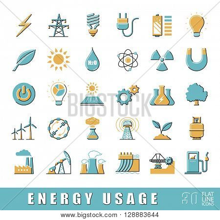 Set of flat line energy icons. Various energy sources. Various kinds of energies for use in industry and everyday life. Solar energy, bio alternative, fuel, electricity, nuclear, wind power, gas.