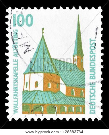 GERMANY - CIRCA 1989 : Cancelled postage stamp printed by Germany, that shows Chapel in Altoetting.