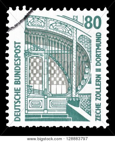 GERMANY - CIRCA 1997 : Cancelled postage stamp printed by Germany, that shows Main entrance of the mine Zollern II in Dortmund.