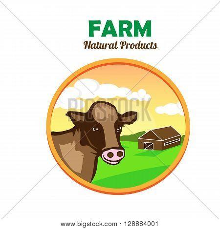 Farm landscape concept. Farm field illustration. Farm natural product emblem. Farmland concept. Cow looks on the window. Vector illustration