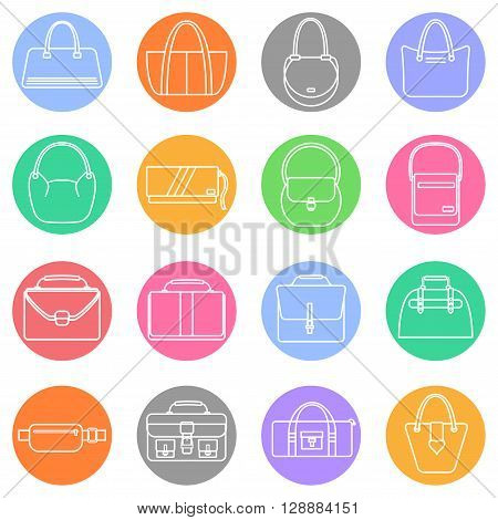 Bag, purse, handbag and suitcase simple colorful icons set. Accessory symbols set. Vector illustration.
