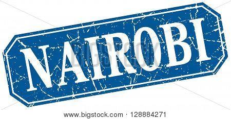 Nairobi blue square grunge retro style sign