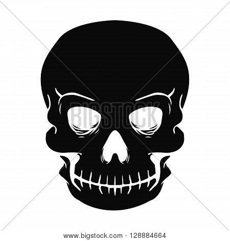 black vector illustration. skull tattoo. sinister skull
