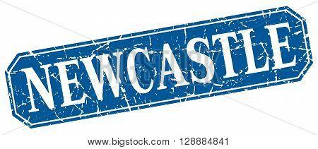 Newcastle blue square grunge retro style sign