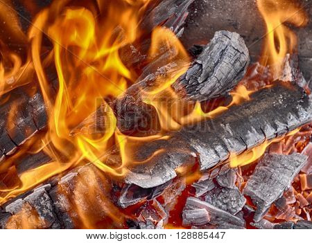 Bonfire of wooden logs a bright fire