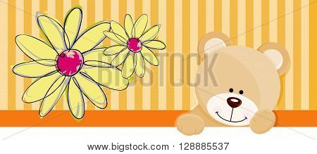 Scalable vectorial image representing a teddy bear flower banner, isolated on white.