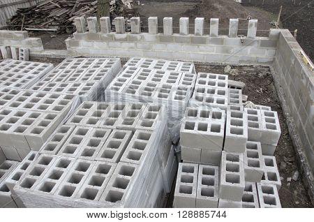 Construction Blocks at building yard. Building and cinder blocks.
