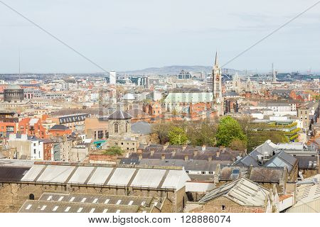Aerial view of Dublin, capital of Ireland