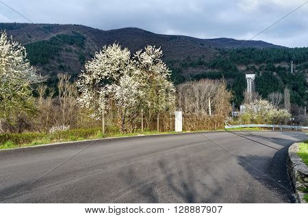 Water pipeline transporting water and Hydro-Electric power station on mountain in springtime, Pancharevo, Bulgaria