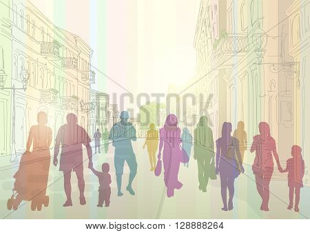 City street in the daytime and colorful silhouettes of people