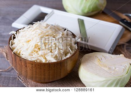 Fresh chopped cabbage on the table, close