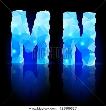 Shiny blue polygonal font. Crystal style M and N letters with reflection on black backround