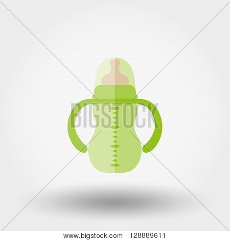 Feeding bottle. Icon for web and mobile application. Vector illustration on a white background. Flat design style.