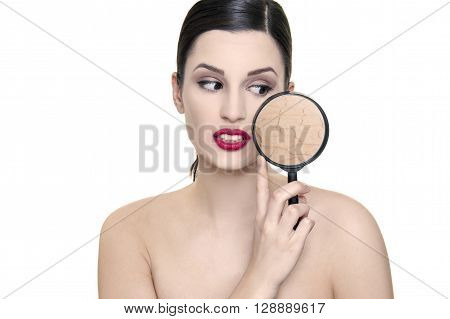 girl with dark hair and problematic dry skin magnifier