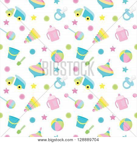 Baby seamless toys pattern. Design for fabric web background wallpaper cards prints of baby goods. All elements are hidden under the mask.Vector illustration.