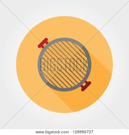 Grill grate icon. BBQ. Icon for web and mobile application. Vector illustration of a button with a long shadow. Flat design style.