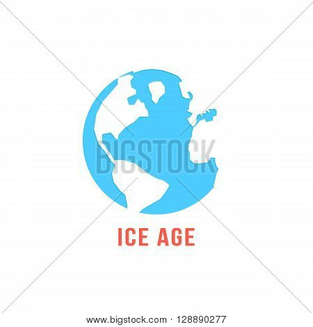 ice age with blue planet earth. concept of global warming, disaster ecocatastrophe, cenozoic era, glacial period. isolated on white background. flat style trendy modern logo design vector illustration