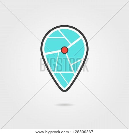 black and turquoise pin icon with shadow. concept of navigate, show address, indicate, geo service, find home. isolated on grey background. flat style trendy modern logotype design vector illustration