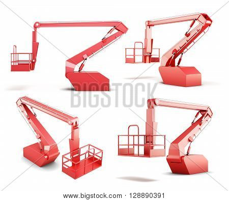 Set of cherry picker isolated on white background. 3d rendering.