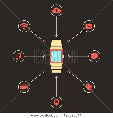 golden smart watches with social media icons. concept of mobile shopping payment, e-commerce, global service, transaction. isolated on dark background. flat style trendy design vector illustration