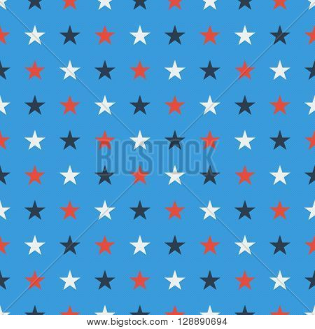 Seamles star pattern in blue white and red soild colors on light blue background endless starry tile tileable texture wrapper textile pattern